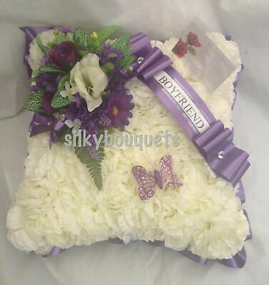 Artificial Silk Funeral Flower Cushion Wreath Tribute Silky Bouquets Memorial