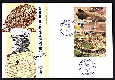 Tome Principe 1988 First Day Cover 750 Jahre Berlin cachet Zeppelin stamp sheet