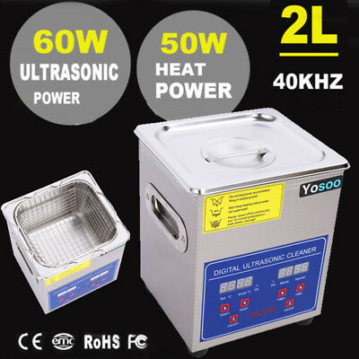 2L Stainless Steel Digital Ultrasonic Cleaner Industry Heated Heater With Timer