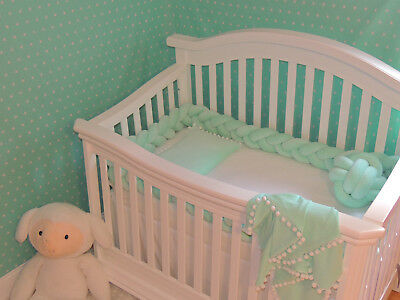 Braided Crib Bumpers,Nursery  Baby bedding,Premium Cotton (27 colors to choose )