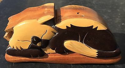 Wood CAT Puzzle Box - Jewelry Trinket Box