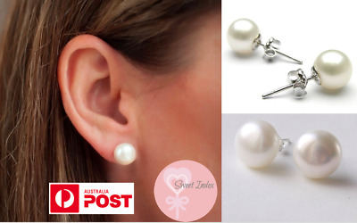 925 Sterling Silver Classic Pearl Earrings Simple White Fashion Elegant 10 8 6