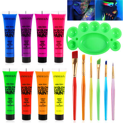 UV Glow Blacklight Face Body Paint 8 Colors Fluorescent Pigment + Brush +Palette