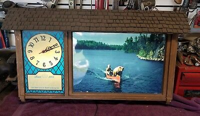 Classic Hamm's Bear in Canoe Clock Beer Sign Breweriana Advertising Vintage