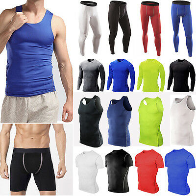 Mens Compression Armour Fitness Gym Wear Tops Base Layer Shirt Vest Shorts Pant