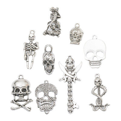 9x Mixed Antique Silver Skull Skeleton Pendants Halloween Jewelry Charms