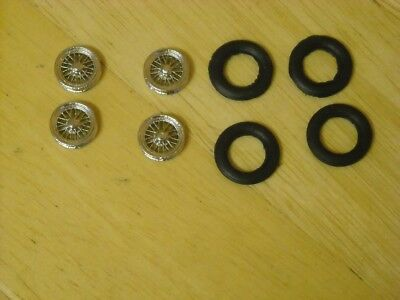"1/43rd scale chrome wire wheels by K&R Replicas for cars with 16"" wheels"