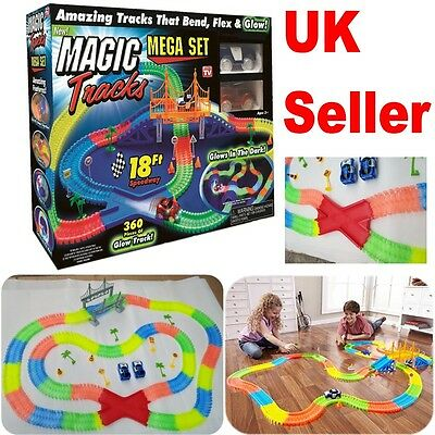 360 MAGIC TRACKS 18Ft Glow in the Dark 5LED LIGHT UP RACE Police Cars Bend Flex