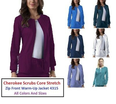 Cherokee Scrubs Core Stretch Zip Front Warm-Up Jacket 4315 All Colors All Sizes