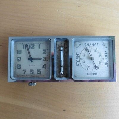VINTAGE 1930s TRAVEL CLOCK MOVEMENT WITH THERMOMETER AND BAROMETER