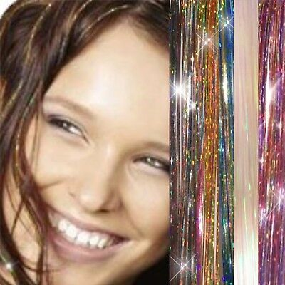 "100 x Strands  Holographic Sparkle Hair Tinsel / Extensions / Dazzles - 48"" Long"