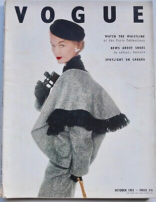 1951 VOGUE Paris Haute Couture and British fashion hats shoes Benjamin Britten