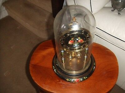 Vintage  anniversary clock by Koma with glass dome