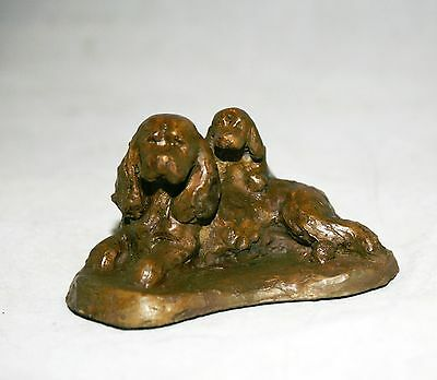 Sussex Spaniel Bronze by Leslie Hutto mother and puppy limited edition of 10
