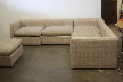 Milo Baughman Style 6 Piece Sectional Sofa Couch Vintage Mid Century Modern