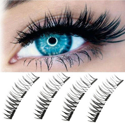 4Pcs/2Pairs Set Soft 3D Magnetic False Eyelashes Long Natural Handmade Makeup MD