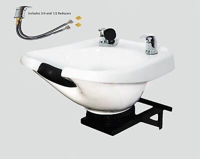 Salon  White Ceramic Wall Mounted Tilting Shampoo Bowl Spa Equipment TLC-W33-WT