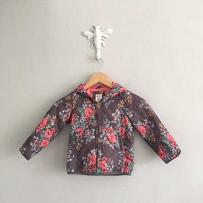 Carters Girls Coat 3T Gray Floral Long Sleeve Hooded Spring Toddler Lightweight