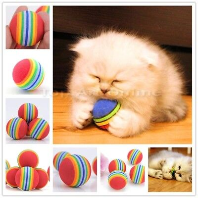 2 Small Cat Balls Funny Dog Kitten Weasel Jumping Moving Rolling Pet Toy Scratch