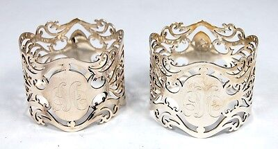 Lot Of 2 Sterling Silver Broadway & Co Engraved Napkin Rings No Reserve