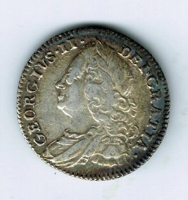 1757 George II sterling silver sixpence 6d coin - 3g