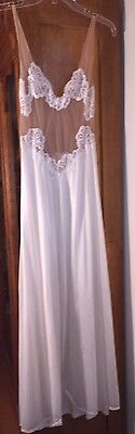 Vtg Formfit Rogers Sheer top Buttery Ivory Elegant Nightgown Size 6 - 8 MINT!