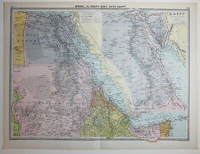 1920 Large Map Africa North East Egypt Anglo Egypptian Sudan Abyssinia Cairo