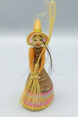 Vtg Witch Halloween Ornament Woven Wrapped Straw Primitive Folk Art Decoration A
