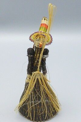 Vtg Witch Halloween Ornament Woven Wrapped Straw Primitive Folk Art Decoration B
