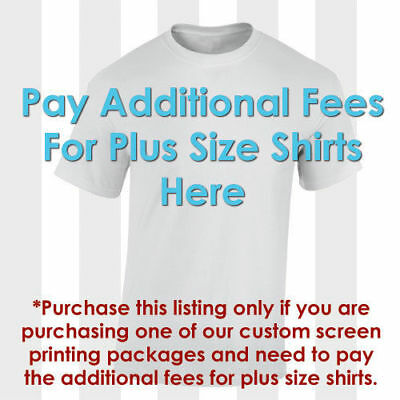 Custom Screen Printing Plus Size Additional Fee Listing