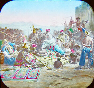 """1906 Africa Slave Traffic By Dutch Color Painting of """"Factory"""" Lantern Slide"""