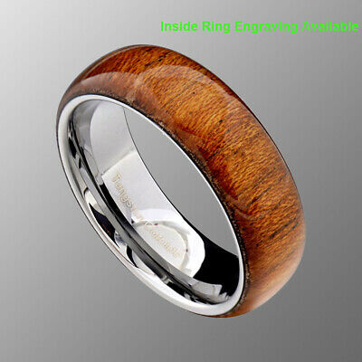 8mm Tungsten Carbide Brown Wood Glossy Men S Wedding Band 12 99