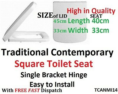 SQUARE TOILET SEAT TC White Rounded Front standard Fitting TCANMI14  - FREE POST