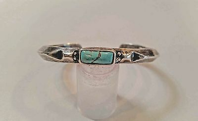 Early Navajo Indian Ingot Silver Filed Bracelet With Turquoise Terminal Stones