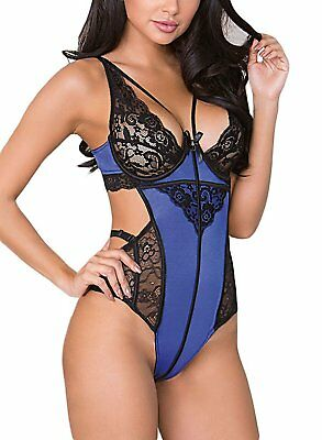Elapsy Womens Sexy Lace Teddy Lingerie One Piece Babydoll Bodysuit Blue And