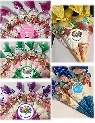 Large Pre Filled Sweet Cones Party Bags - Free Personalised Stickers