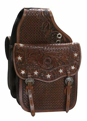 Showman MEDIUM OIL Tooled Leather Saddle Bag W/ Hair On Cut Out Cowhide Stars!