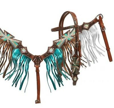 Showman Painted Cross Bridle and Breast Collar Set W/ Metallic Fringe! TACK!