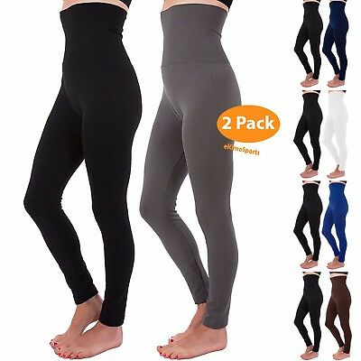 2 PCS High Waist Tummy Control Full Length Legging Compression Top Fleece Lined