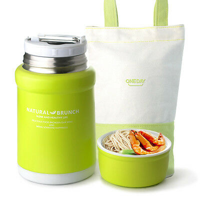 ONEDAY Student Stainless Steel Insulated Food Flask with Foldable spoon 450ML