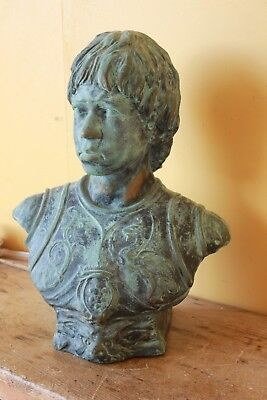 Large Bronze look, Plaster bust of a young man. Roman, Classical.