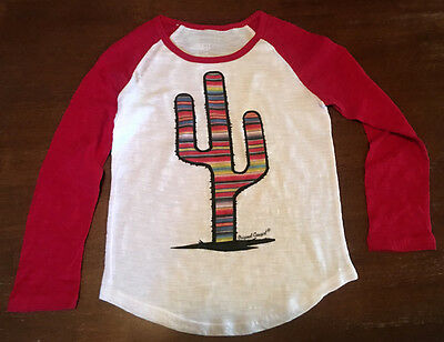 Medium - Red Prickly Cactus Serape Baseball Junior Youth Tee
