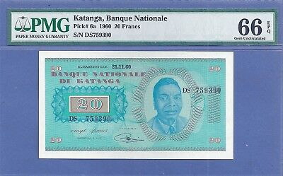 PMG-66 EPQ Gem UNC  Katanga 20 Francs P-6a 1960  (Country no longer exists)