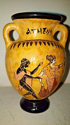 Ancient Greek Ceramic Decorative Vase Amphora with Man and Woman 11 cm high