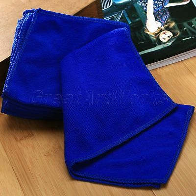 "6pcs 12"" Square Blue Microfiber Cleaning Car Soft Cloth Wash Clean Kitchen Towel"