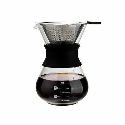 Classic Glass Coffee Maker Chemex Style Pour Over Coffeemaker 400ml/3 Cups New