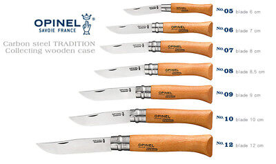 Opinel France No05-No12 Carbon Steel Beech Wood Handle Folding Knife 7 Size