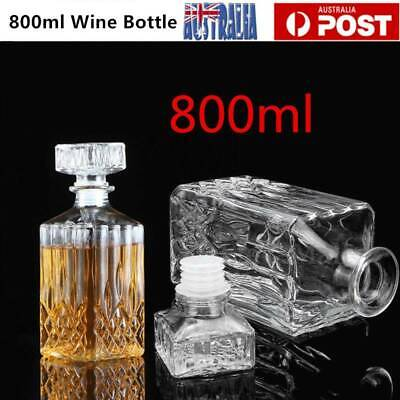 Vintage Decanter Glass Liquor Whiskey Wine Bottle Carafe Stopper 800ml