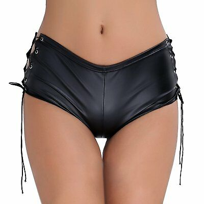 YiZYiF Women Leather Look Booty Short Pants Club Dancing Rave Shorts with Lace