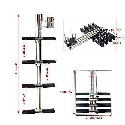 Boat Marine Dual Vertical Telescoping Tube Stainless Sport Diver Ladder-4 Steps